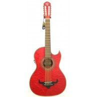 Oscar Schmidt Model OH32SEQTR Trans Red Acoustic Electric Bajo Quinto w/Bag