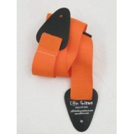"Effin Guitars 2"" Wide Nylon Orange Guitar Strap W/Leather Eends #NWS20-ORAN"