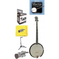 Lucky Penny B5-DL Deluxe 5 String Resonator Banjo w/Banjo Stand + More