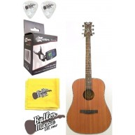 Dean AX D GN Dreadnought, Gloss Natural Acoustic Guitar w/Clip-on Tuner + M