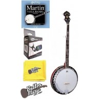 Oscar Schmidt OB5 Gloss 5 string Banjo, Martin V730 Strings and More Bundle