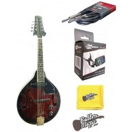 Lucky Penny LPM50E Acoustic Electric A Style Mandolin Bundle Red Burst Fini