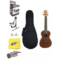 Lucky Penny LP390ASE Solid Mahogany A/E Concert Ukulele w/Uke Stand + More