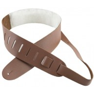 """Perri's 2.5"""" Brown Leather Guitar Strap with Sheepskin Pad Model # DL325-22"""