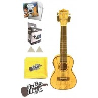 Amahi UK770C-EQ Concert Spalted Maple A/E Ukulele Gig Bag and Strings Bundl