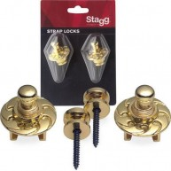 Stagg Model SSL1 GD Gold Strap Locks for Guitar, Bass, Mandolin , Banjo , E