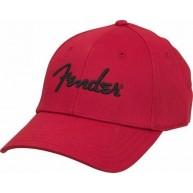 Genuine Fender Logo Red Stretch Cap Ballcap Hat Small-Medium S/M #910600030