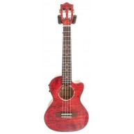 Lanikai QM-RDCET Red Quilted Maple Cutaway Acoustic Electric Tenor Ukulele