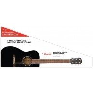 Fender CC-60S Solid Spruce Top Concert Acoustic Guitar Pack Black Finish -