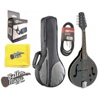 Stagg M50E/BK Black Acoustic/Electric 'A' Style Mandolin w/Padded Gig Bag &
