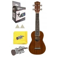 Fender California Coast Series Soprano Seaside Mahogany Ukulele Tuner Bundl