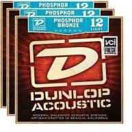 3 Sets of Dunlop Phosphor Bronze Light Acoustic Guitar Strings -#DAP1254