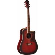 Oscar Schmidt OG2CEFBC Flame Top Black Cherry Acoustic Electric Guitar - NE