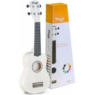 Stagg US-WHITE Satin Finish White Colored Soprano Size Ukulele w/Gig Bag -