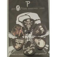 Pack of 6 Perri's Skulls Guitar Picks in Collectible Clamshell Package #LP-
