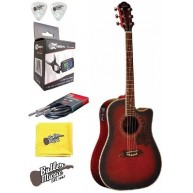 Oscar Schmidt OG2CEFBC Flame Black Cherry A/E Guitar w/Effin Tuner + More!!