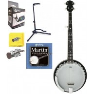 Stagg BJM30DL DLX 5 String Bluegrass Banjo - Resonator w/Banjo Stand + More