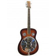 Lucky Penny Model LP-RES Round Neck Resonator Guitar in a Sunburst Finish