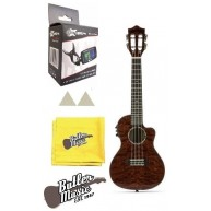 Lanikai QM-RDCEC Quilted Maple Red Cutaway A/E Concert Ukulele with Tuner &