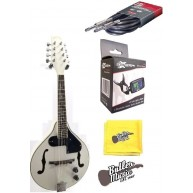 Lucky Penny LPM50E/WH White Acou/Elec A Style Mandolin Bundle with tuner &