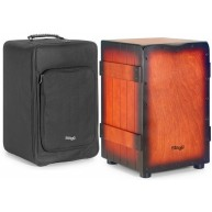 Stagg Crate Style Cajon Drum With Case Red Sunburst - Model CAJ-CRATE SBR
