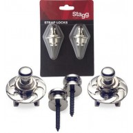 Stagg Model SSL1 CR Chrome Strap Locks for Guitar, Bass, Mandolin , Banjo ,