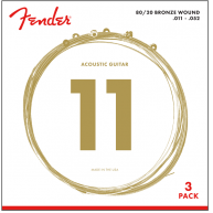 Fender 70CL 80/20 Bronze Acoustic Guitar Strings 3 Pack Custom Light Guage