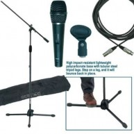 Deluxe Microphone Package with Boom Stand, Xlr Cable, microphone clip and C