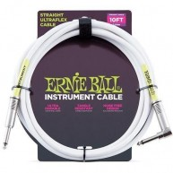 "Ernie Ball P06049 Straight/Angle 1/4"" White Ultraflex Instrument Cable 10 F"