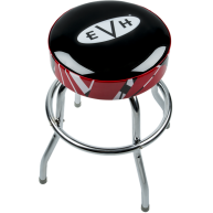 Eddie Van Halen EVH 24 Inch Chrome Barstool with Striped Padded Seat