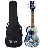 Luna Model Great Wave Graphic Soprano Size Acoustic Ukulele with Gig Bag
