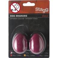 Stagg Model EGG-2 RD Pair of Small Egg Shakers, Hand Percussion, RED