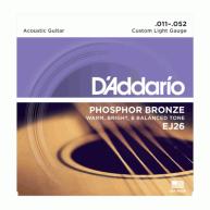 D'Addario EJ26 Phosphor Bronze, Custom Light 11-52 Acoustic Guitar Strings