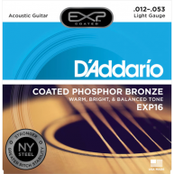 D'Addario EXP16 Phosphor Bronze Acoustic Guitar Strings, Coated, Light, 12-
