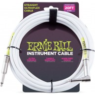 Ernie Ball P06047 Straight/Angle End White Ultraflex Instrument Cable 20 Fe