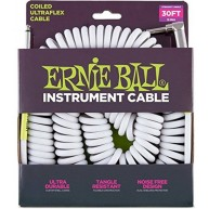 Ernie Ball P06045 Coiled Straight/Angle White Ultraflex Instrument Cable 30