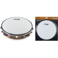 "Stagg TAB-110P-WD - 10"" Tuneable Plastic Tambourine w/1 Row of Jingles - Br"
