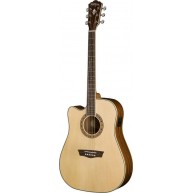 Washburn WD10SCELH Left Handed Acoustic Electric Solid Top Dreadnought Guit