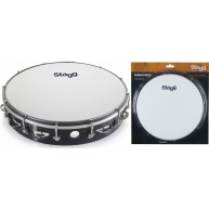 Stagg Model TAB-112P/BK Black 12-Inch Tunable Tambourine, One Row of Jingle