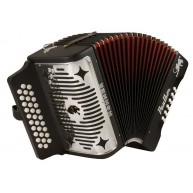 Hohner Panther Series 3-Row Diatonic Accordion in GCF Model #3100GCFBK