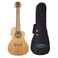 Lanikai CDST-CEC Acoustic Electric Solid Cedar Top Cutaway Ukulele with Gig