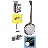 Oscar Schmidt OB5E Acoustic Electric 5-String Banjo with Stand, Tuner, and