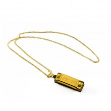 Hohner 37-C Gold plated Mini Harmonica, Key of C Major with Gold Colored Chain