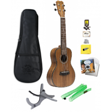 Islander SAC-4 Solid Acacia Concert Ukulele with Bag, Tuner, Strings, and More