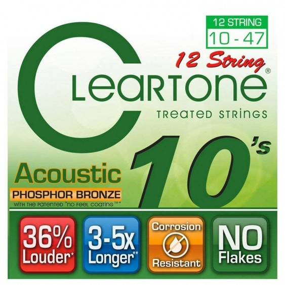 Cleartone #7410-12 Phosphor Bronze Coated Acoustic Guitar 12 String Set -  10-47