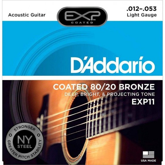 D'Addario EXP11 Acoustic Guitar Strings, 80/20, Coated, Light, 12-53
