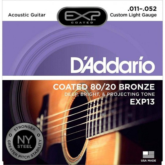 D'Addario EXP13 80/20 Bronze Acoustic Guitar Strings,Coated, Custom Light, 11-52
