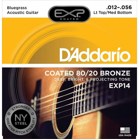 D'Addario EXP14 80/20 Bronze Acoustic Guitar Strings, Coated, Bluegrass, 12-56