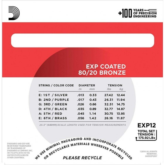 D'Addario EXP12 80/20 Bronze Acoustic Guitar Strings, Coated Medium, 13-56
