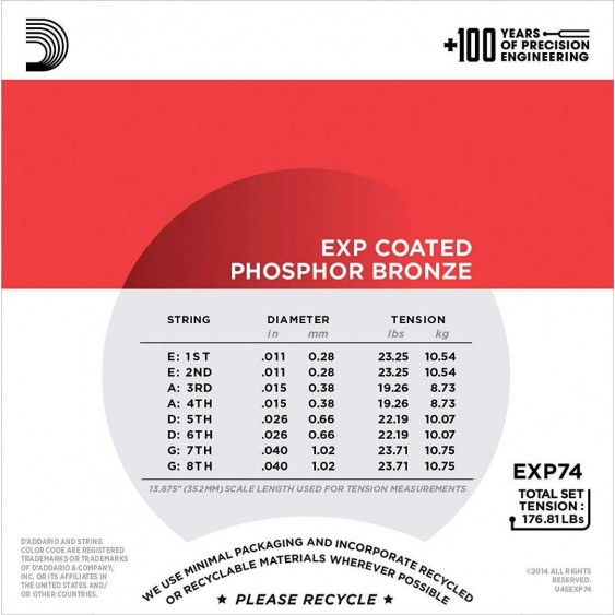 D'Addario EXP74 Coated Phosphor Bronze Mandolin Strings, Medium, 11-40